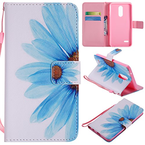Ostop Colorful Painted Leather Wallet Case for LG K10 2018,LG K30 Case,[Kickstand Feature] Blue Sunflower Printed White PU Magnetic Flip Cover with Card Slots Wrist Strap Shockproof Shell - Vertical Case Executive
