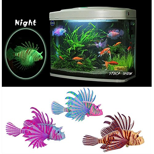 Stock Show 3Pcs Aquarium Artificial Colorful Glowing Fish Silicone Lionfish Floating Decorations Ornaments for Fish Tank Ornaments