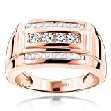 Luxurman 14K Mens Natural 0.8 Ctw Diamond Ring Baguette and Round Cut For Him (Rose Gold Size 9.5)