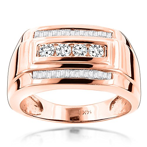 Luxurman 14K Mens Natural 0.8 Ctw Diamond Ring Baguette and Round Cut For Him (Rose Gold Size 9.5) by Luxurman