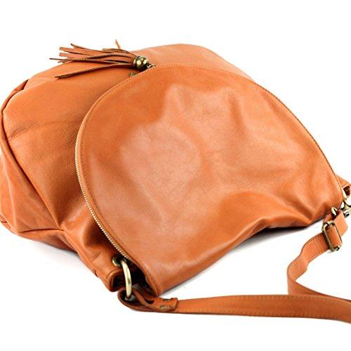 modamoda de - ital. Ledertasche Damentasche Schultertasche Umhängetasche Nappaleder T40 Orangebraun Large 4x1l2LNV