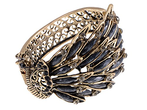 - Alilang Womens Antique Golden Tone Peacock Bracelet Bangle with Black Crystal Gems