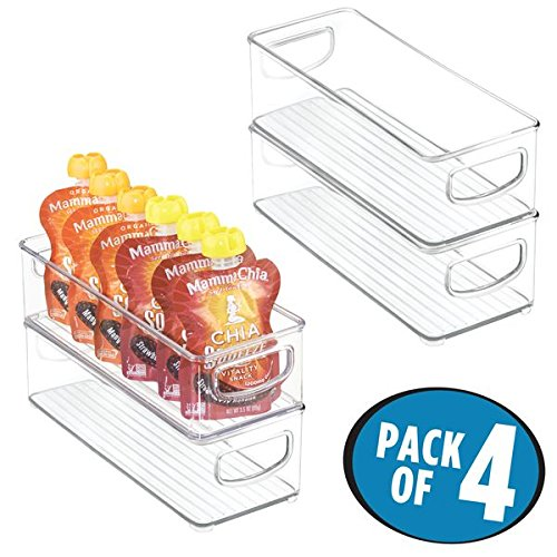 mDesign Stackable Plastic Kitchen Pantry Cabinet, Refrigerator or Freezer Food Storage Bins with Handles - Organizer for Fruit, Yogurt, Squeeze Pouches - Food Safe, BPA Free, 4 Pack, 10'' Long - Clear by mDesign