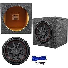 "Package: Kicker 43CVR124 12"" 800W Dual Voice Coil 4-Ohm Car Stereo Sub+Rockville RS12 Single 12"" 1.0 cu.ft Sealed Sub Enclosure+Single Enclosure Wire Kit W/14 Gauge Spkr Wire+Screws+Spade Terminals"