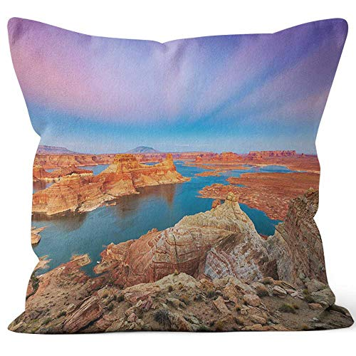 Nine City Twilight Landscape Above Lake Powell Throw Pillow Cover,HD Printing for Sofa Couch Car Bedroom Living Room D??cor,36