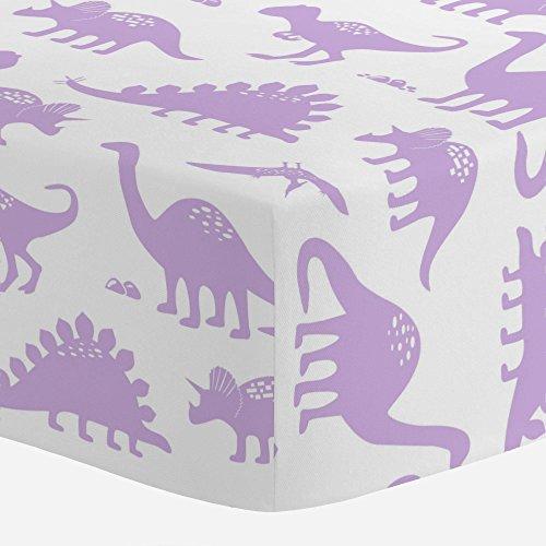 Carousel Designs Pastel Purple Dinosaurs Crib Sheet - Organic 100% Cotton Fitted Crib Sheet - Made in The USA ()