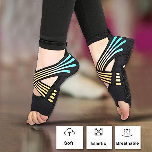 Vbestlife Yoga Socks Non Slip Women, Yoga Pilates Socks with Grips Non Slip Skid Dance Training Shoes with Toes for Pilates Ballet Barre Bikram Studio Women Men(M(37-38))