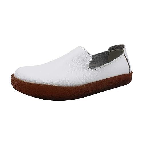 Yudesun Mujer Piel Informal Mocasines Zapatos - Pisos Caminar Suave Escuela Comodidad Bombas Transpirable Mocasín Tobillo Resbalón Memoria Acolchada: ...