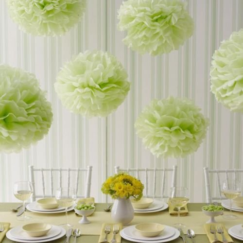 light blue and green paper poms - 1