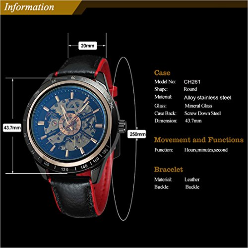 927b3443b Carrie Hughes Men Steampunk Automatic Watch Self-Winding Mechanical Skeleton  Discolored Glass Water