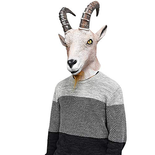 Goat Mask for Adults Antelope with Horns Ram Animal Head Face Disguise Halloween Costume Party Latex Dress Gray]()