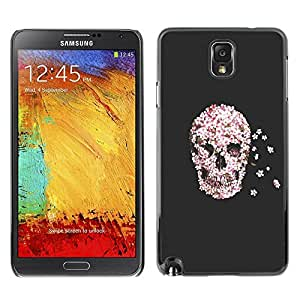 FECELL CITY // Duro Aluminio Pegatina PC Caso decorativo Funda Carcasa de Protección para Samsung Note 3 N9000 N9002 N9005 // Flowers Rebirth Death Grey Gray