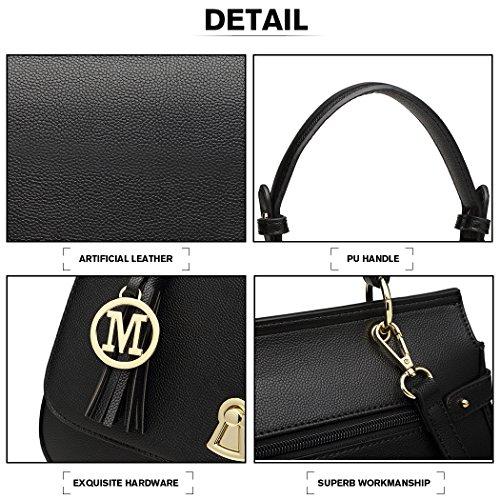 Miss Elegant Bag Pu Women Flap Crossbody Tassel Handbags Handle Bag Black Leather Top Shoulder Lulu Bag with Lock Closure wAnxCRq1vw