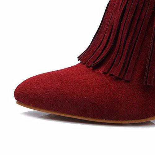 Rosso Spillo Bassa Tacco Di Altezza Donna Agoolar Stivali Pelle A Mucca Scarpe Punta Cerniera TCHqOw4