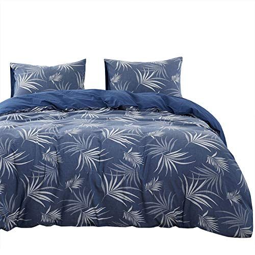 Wake In Cloud - Denim Blue Duvet Cover Set, 100% Jacquard Cotton Bedding, Gray Grey Tree Leaves Pattern, Zipper Closure (3pcs, Queen Size)