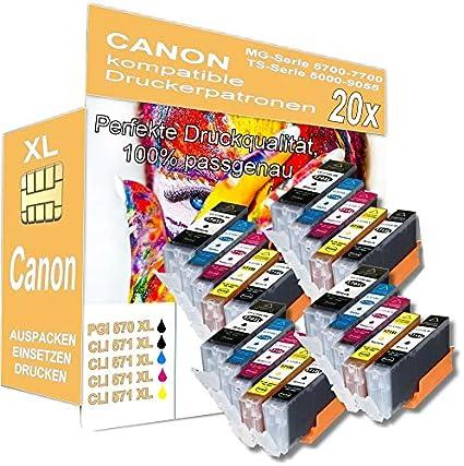 Juego de 20 Cartuchos de Impresora XL compatibles con Canon Pixma ...