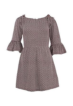 Topshop Burgundy Off Shoulder Geometric Gypsy Fluted Sleeve Dress UK 10