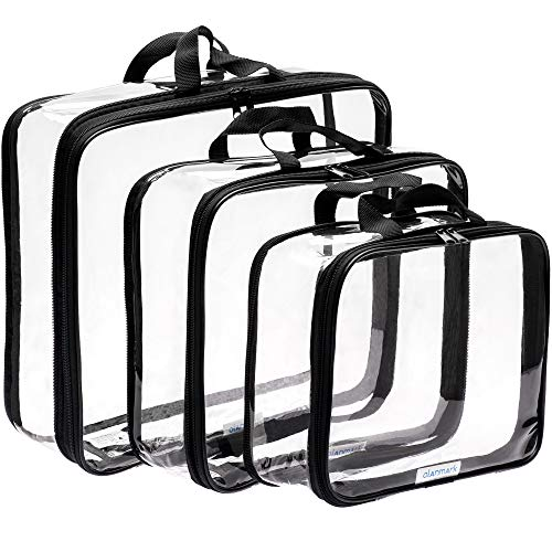 Clear Compression Packing Cubes 3 Set - Bags for Travel - Luggage Cube Organizer (Plain Cube)