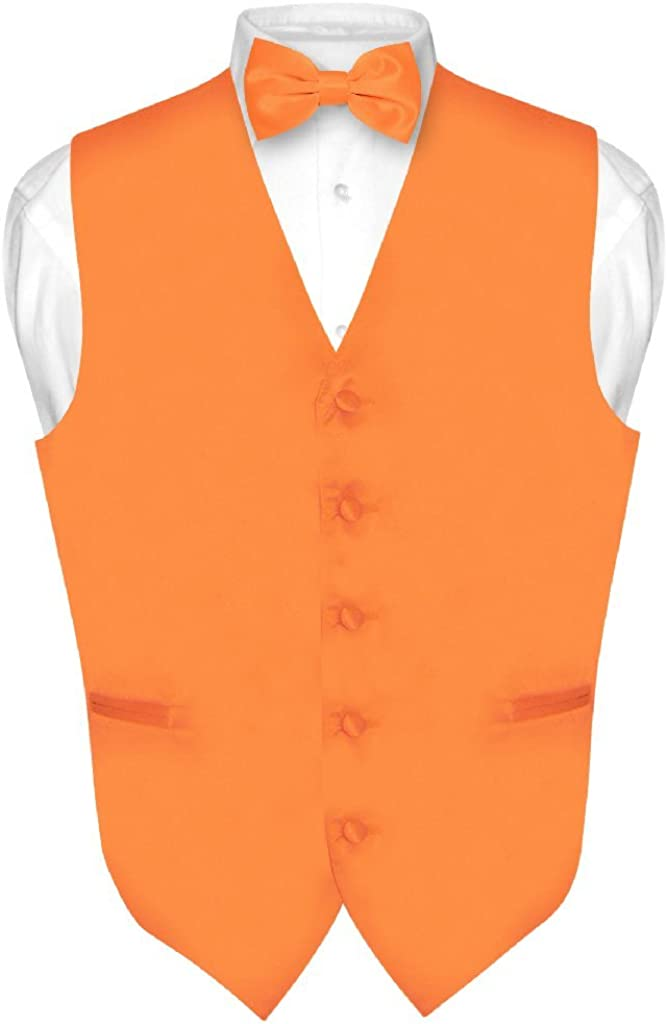 Men/'s Solid Orange Polyester Vest with Self Tie Bowtie for Formal Occasions