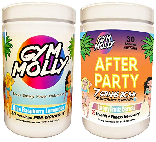 Gym Molly s After Party Combo Pack with Preworkout and Postworkout Drink Supplements for Energy and Fitness Recovery – Zero Carbs and Zero Sugar Blue Raspberry and Loopy Fruitz Cereal