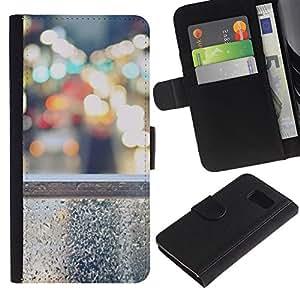 Billetera de Cuero Caso Titular de la tarjeta Carcasa Funda para Samsung Galaxy S6 SM-G920 / Lights City Nyc Traffic Cars / STRONG