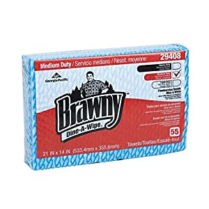 """Brawny Dine-A-Wipe 29408 Blue and White 1/4 Fold Foodservice Busing Towel, 14"""" Length x 21"""" Width, (Case of 6 Poly Pkgs., 55 Towels per Poly Pkg.)"""