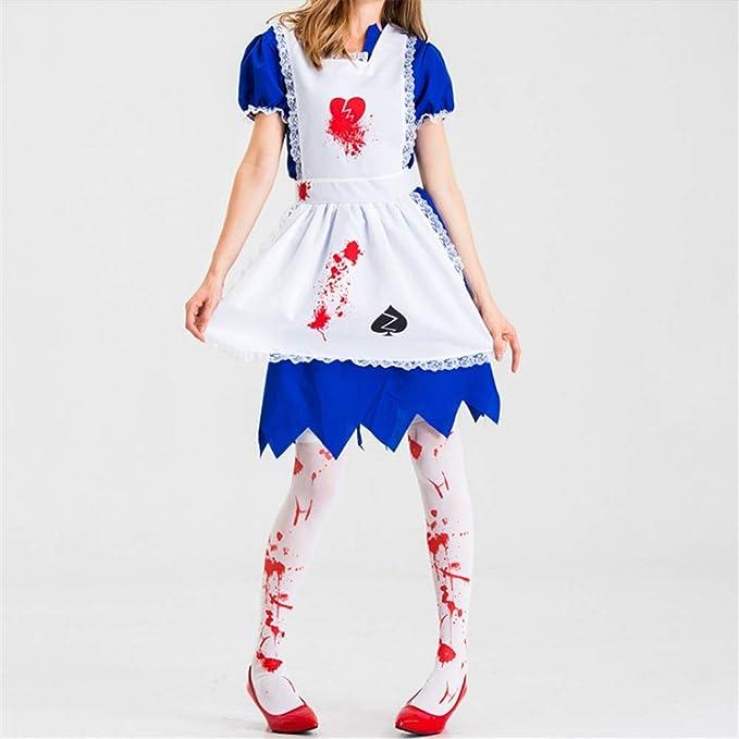 ZHAOXUAN Disfraz Mujer Halloween Horror Maid Zombie Disfraz Miedo ...