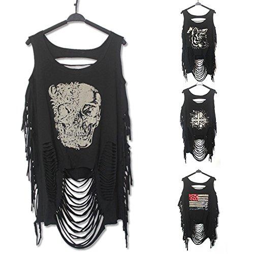 Hrph Fresco de la manera verano de las mujeres del punk rock del Hippie Diseño O-Cuello fotografica hueco rasgado de talle bajo con impresiones sin mangas
