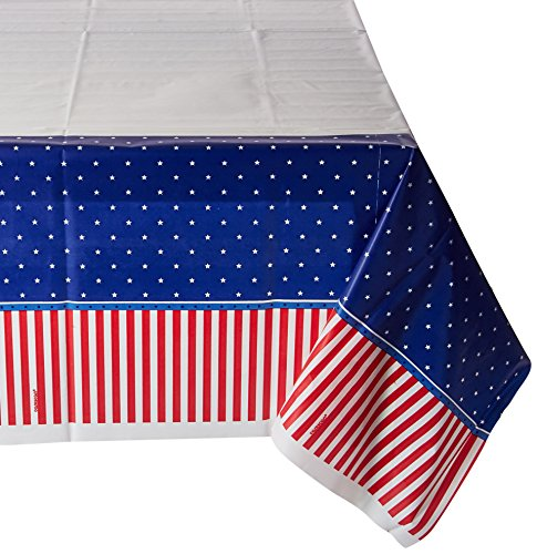 Amscan American Classic Patriotic 4th of July Party Table Cover Picnic Tableware, Plastic, 54'' X 102''. Childrens-Party-Tablecovers by Amscan