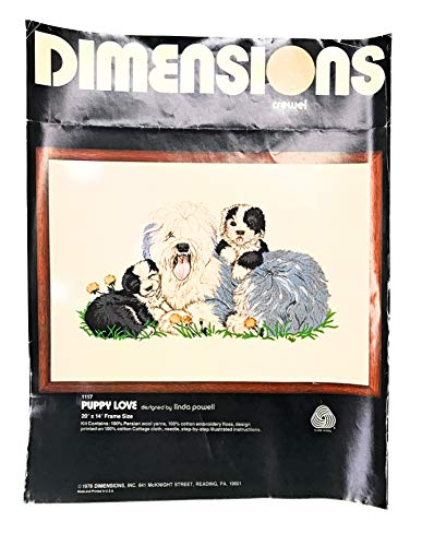 Dimensions Crewel Kit Puppy Love 1978#1117 by Linda Powell
