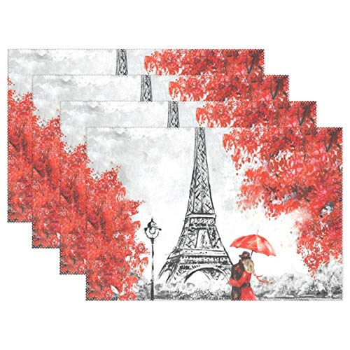 HUVATT Paris Eiffe Tower Placemats Dining Table Mats Cloth Insulation Coffee Tea Cup Pad 12