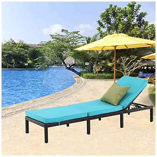 Furnimy Patio Lounge Chair Outdoor Chaise Lounge Adjustable Reclining Chair Outdoor Patio Furniture Rattan Wicker Black with Removable Cushions for Poolside Beach Backyard 2, Beige