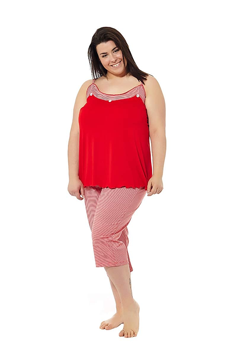 Pijama Mujer Verano Tallas Grandes. Varios Estampados. Manga Corta o Tirantes. Pantalón Pirata. Tallas Grandes. Mabel Big&Beauty Tallas 50 a la 70