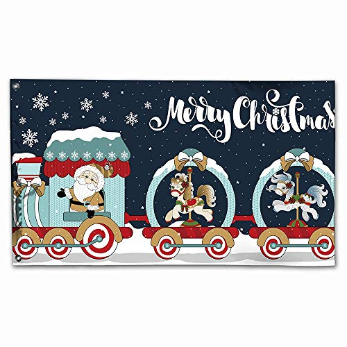 (House Garden Flag Santa and Snowman Deluxe Indoor Outdoor Banner Christmas Yard Decorations 3 x 5 Foot (Train with Pony))
