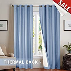 jinchan Bedroom Thermal Moderate Blackout Curtains, Energy Saving Lined Drapes for Living Room 84 Inch Length Curtain Panels Blue, Grommet Top, Sold by Pair