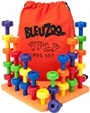 BleuZoo Peg Board Set - Montessori Stacking Toys For Toddlers   Fine Motor Skills, STEM, Autism, Educational, Speech Occupational Therapy, Colors Building - Preschool Activities   30 Pegs, Board & Bag