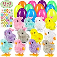 Twister.CK Easter Eggs Filled Wind Up Toys Rabbits and Chicks 12 Pack,Easter Sticker Decorations 2 Pack, Easter Basket Stuff