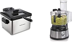 Hamilton Beach Professional Grade Electric Deep Fryer & 10-Cup Food Processor & Vegetable Chopper with Bowl Scraper, Stainless Steel (70730)