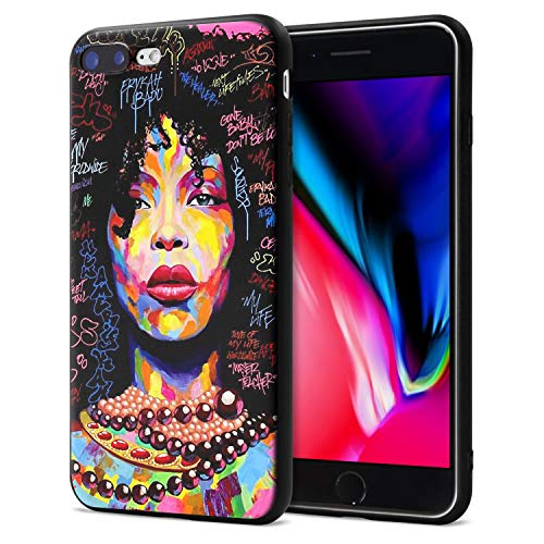 iPhone 7 Plus iPhone 8 Plus Case African American Afro Girls Women Slim Fit Shockproof Bumper Cell Phone Accessories Thin Soft Black TPU Protective Apple iPhone 7 Plus Cases (01)