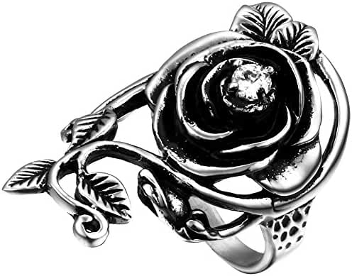 Flongo Womens Ladies Gothic Stainless Steel Rose Vine Band Ring