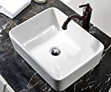 VCCUCINE Rectangle Above Counter Porcelain Ceramic Bathroom Vessel Vanity Sink Art Basin
