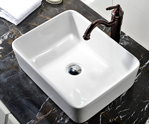 Vessel Vanity Sink - VCCUCINE Rectangle Above Counter Porcelain Ceramic Bathroom Vessel Vanity Sink Art Basin