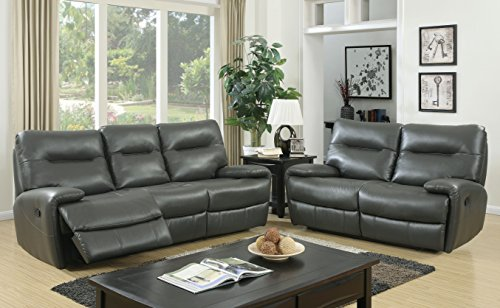 Furniture of America 2 Piece Harvey Transitional Recliner Sofa Set, Gray
