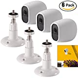 #8: HOLACA 3-pack Security Wall Ceiling Mount + 3-pack Silicone Skins Protective Cover Case by, Adjustable Indoor/Outdoor Mount Set for Arlo Pro/Pro 2 Home Camera (White Case+Plastic Bracket)