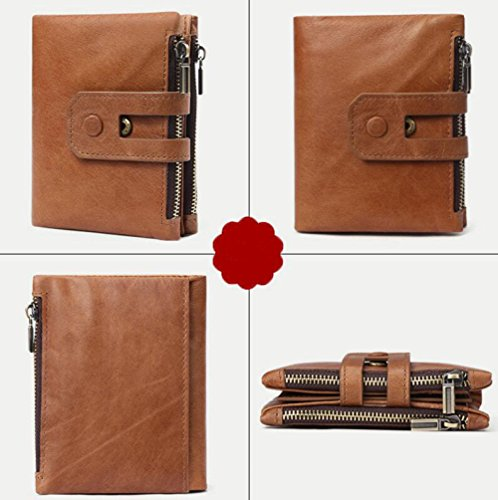GKKXUE Herrenbrieftasche Mode Lässig Kurze Brieftasche Doppel-Reißverschluss Große Kapazität Tasche Europäischen Und Amerikanischen Mode Taschen Brown2