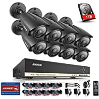 ANNKE 8CH AHD-720P Surveillance DVR with 1TB Hard Drive and (8) 1280TVL Indoor/Outdoor Security Cameras with 100ft IR Night Vision, IP66 Weatherproof Metal Housing