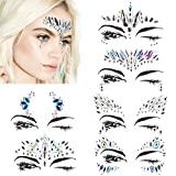 Face Jewels Festival Stick On - Mermaid Face Gems Glitter Rhinestone Rave Festival Face Jewel Bindi Crystals Face Stickers Eyes Face Body Temporary Tattoos for Music Festivals Vibe Bohemian Coachella