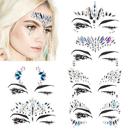 Face Jewels Festival Stick On - Mermaid Face Gems Glitter Rhinestone Rave Festival Face Jewel Bindi Crystals Face Stickers Eyes Face Body Temporary Tattoos for Music Festivals Vibe Bohemian Coachella by AblerV