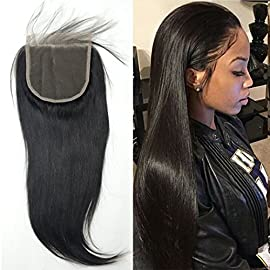 BLUPLE 5×5 Straight Lace Closure With Baby Hair Brazilian Virgin Human Hair Natural Color Free Part
