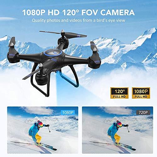 AKASO Drone con Cámara 1080P HD con WiFi FPV LED Control Remoto Modo sin Cabeza Volteos 3D Estabilización de Altitud RC Quadcopter Drone para Niños Principiantes Adultos